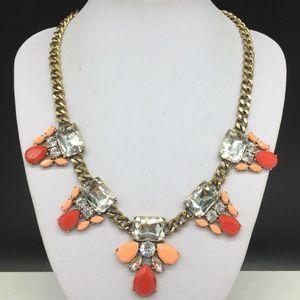 J CREW Rhinestone Necklace Coral Peach JCREW